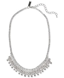 """INC Silver-Tone Crystal Shaky Frontal Necklace, 17"""" + 3"""" extender, Created for Macy's"""