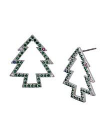 Cubic Zirconia Christmas Tree Stud Earrings
