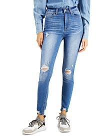High Rise Ripped Skinny Ankle Jeans