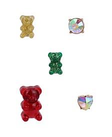 Festive Gummy Bear Single Stud Earrings Set