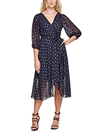 Foil-Dot Faux-Wrap Midi Dress