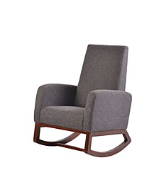 Home Deluxe Modern Solid Wood Rocking Chair with Padded Seat and Arm