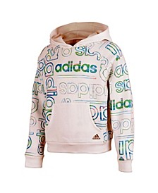 Big Girls Long Sleeve Print Fleece Hooded Pullover