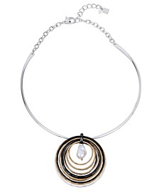 "Pearl Orbital Pendant Necklace, 17"" + 2"" extender"