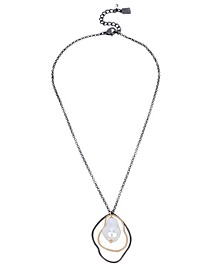 "Pearl Sculptural Pendant Necklace, 17"" + 2"" extender"