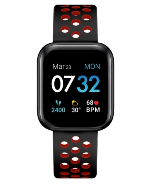 Air 3 Unisex Touchscreen Smartwatch Fitness Tracker: Black Case with Black/Red Perforated Strap 44mm