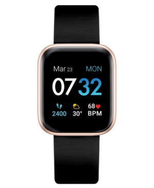 Air 3 Unisex Touchscreen Smartwatch Fitness Tracker: Rose Gold Case with Black Strap 40mm