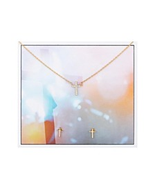 2-Pc. Set Cubic Zirconia Mini Cross Pendant Necklace & Stud Earrings in Gold-Tone Fine Plated Silver, Created for Macy's