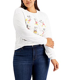 Trendy Plus Size Cotton Mickey Poses Long-Sleeve T-Shirt