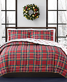 CLOSEOUT! Holiday Tartan 2-Pc. Reversible Twin Comforter Set, Created for Macy's