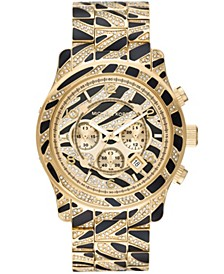 Women's Runway Gold-Tone Pave and Black Acetate Bracelet Watch 45mm
