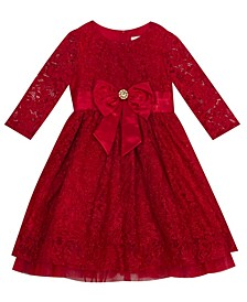 Little Girl  Lace 3/4'' Sleeve Dress With Mesh Ruffle Detail And Bow