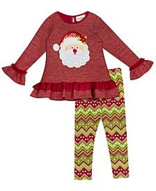 Little Girl Knit Legging Set With Santa Applique