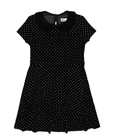 Toddler Girls Short Sleeve Collared Velvet Textured Dress