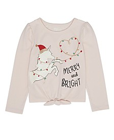 Toddler Girls Long Sleeve Unicorn Christmas Graphic Tee