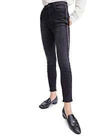 Embellished High-Rise Ankle Skinny Jeans