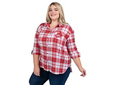 UG Apparel Plus Size Women's Ohio State Buckeyes Flannel Boyfriend Plaid Button-Up Shirt