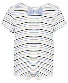 Baby Boys Short Sleeve Bowtie Stripe Bodysuit, Created for Macy's