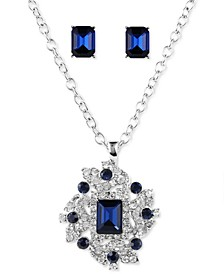 Silver-Tone Pavé & Emerald-Cut Crystal Cluster Pendant Necklace & Stud Earrings Set, Created for Macy's