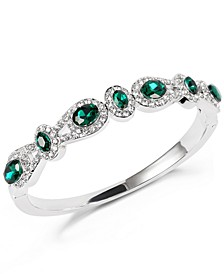 Silver-Tone Pavé & Green Crystal Halo Bangle Bracelet, Created for Macy's