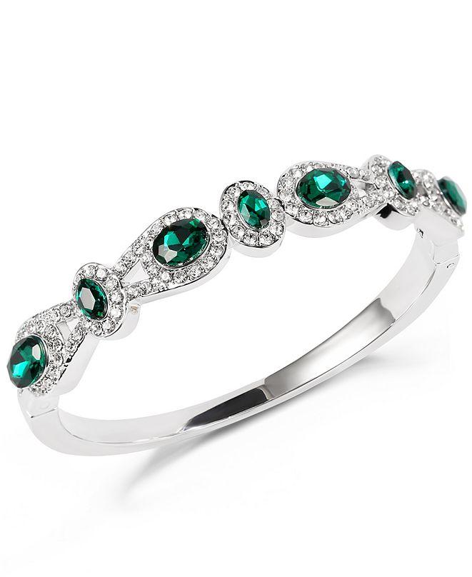 Charter Club Silver-Tone Pavé & Green Crystal Halo Bangle Bracelet, Created for Macy's