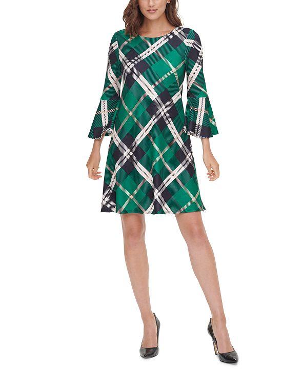 Jessica Howard Plaid Bell-Sleeve A-Line Dress
