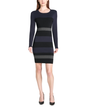 TOMMY HILFIGER STRIPED SWEATER DRESS