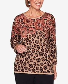 Petite Catwalk Floral Animal-Print Jacquard Sweater