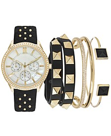 Women's Black Strap Watch 38mm Gift Set