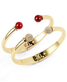 Gold-Tone 2-Pc. Set Pavé Fireball & Colored Imitation Pearl Cuff Bracelets, Created for Macy's