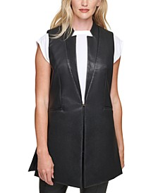 Faux-Leather Sleeveless Jacket