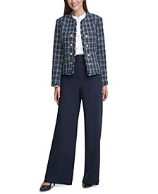 Tweed Cropped Jacket, Pleated Ruffled Blouse & Scuba Crepe Pants, Regular & Petite Sizes
