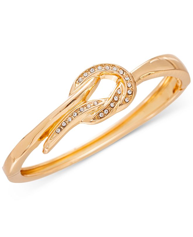 Charter Club Gold-Tone Pavé Knot Bangle Bracelet, Created for Macy's