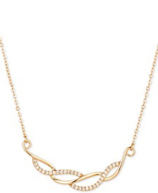 "Gold-Tone Pavé Wave Frontal Necklace, 17"" + 2"" extender, Created for Macy's"