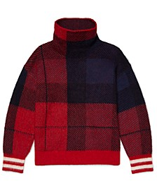 Women's Icon Check High-Neck Sweater with Wide Neck Opening