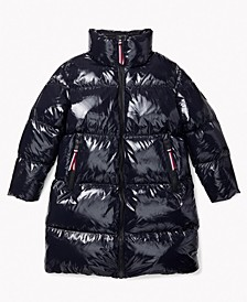Women's High Gloss Down Puffer Coat with Extended Magnetic Zipper