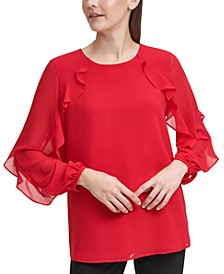 Plus Size Ruffled Chiffon Blouse