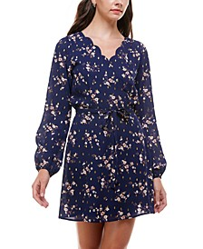 Juniors' Floral-Print Scalloped Fit & Flare Dress