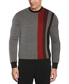 Men's Birdseye Placed Stripe Long Sleeve Crew Neck Sweater