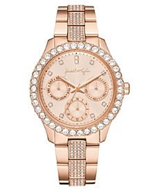 Women's Classic Rose Gold Tone Crystal Bezel Stainless Steel Strap Analog Watch 40mm