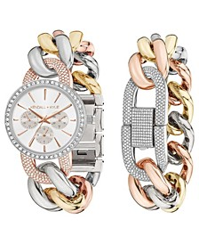 Women's Large Open-Link Crystal Embellished Gold Tone, Silver Tone and Rose Gold Tone Stainless Steel Strap Analog Watch and Bracelet Set 40mm