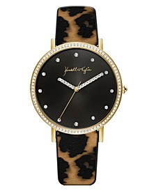 Women's Gold Tone with Watercolor Leopard Print Stainless Steel Strap Analog Watch 40mm