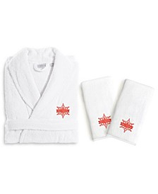 Textiles Embroidered Luxury Hand Towels and Terry Bathrobe Set - Merry Christmas