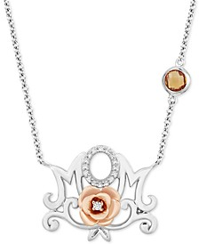 Enchanted Disney Fine Jewelry Citrine (1/4 ct. t.w.) & Diamond (1/20 ct. t.w.) Belle Mom Rose Pendant Necklace in Sterling Silver & Rose Gold