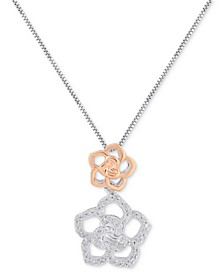 Enchanted Disney Fine Jewelry Diamond Belle Flower Pendant Necklace (1/5 ct. t.w.) in Sterling Silver & 10k Rose Gold-Plated Sterling Silver