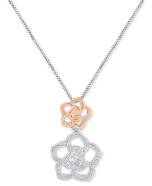 Diamond Belle Flower Pendant Necklace (1/5 ct. t.w.) in Sterling Silver & 10k Rose Gold-Plated Sterling Silver