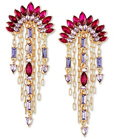 Gold-Tone Multi-Stone Drop Earrings