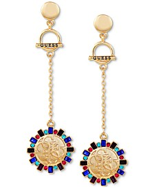 Gold-Tone Multi-Crystal Disc Drop Earrings