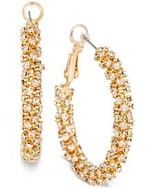 """Gold-Tone Medium Crystal Pavé Hoop Earrings, 1.4"""", Created for Macy's"""