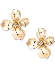 Gold-Tone Crystal Flower Stud Earrings, Created for Macy's